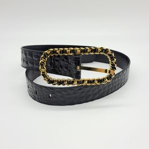Faux Leather Golden Chain Buckle Be…